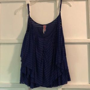 Blue Free People Flowy Tank
